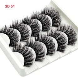 5 par 3D Handgjorda Falska ögonfransar Naturliga Minkfransar 3D-51