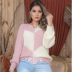 Kvinnors vinterutskjutna ärmar Love Contrast Color Stickad tröja pink S