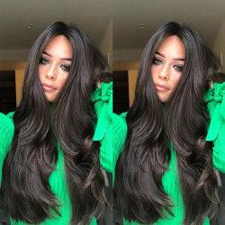 Kvinnors dagliga användning av svart vågigt långt hår peruk Svart