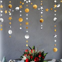 Stjärnor Runda bitar Takdekorationer Julhängande dekor Gold Silver