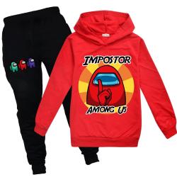 Among Us Kids Baby Boys Girl Hooded Hoodie Tracksuit Pants Set Red 140