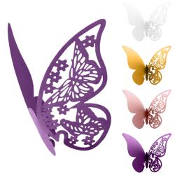 Fjärilsbröllop Namnplaceringskort Pearlescent Card Purple