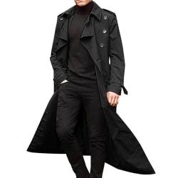 Windbreaker herr vinter lång kappa enkla kappa Black 2XL