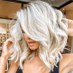 Kvinnors gradient platina peruk mode fest cosplay peruk vitt guld