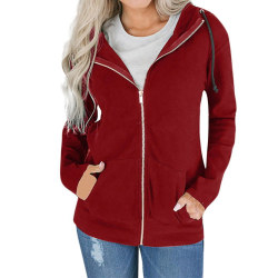 Kvinnor Winter Warm Hooded Zipper Jackor Coat Kinnor Hoodies Red M
