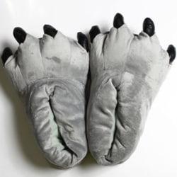 Vuxna barn djur monster fötter tofflor plysch skor grå L(Adult)