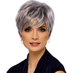 Damgradient silvergrå kort peruk ny stil europeisk peruk Silvergrå