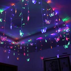 LED Butterfly Light Curtain Christmas Decor Fairy Lights Multicolor