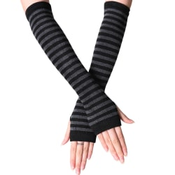 Randiga fingerfria handskar Armvärmare Damer Damvantar Black Deep grey