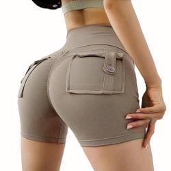 Kvinnor Summer Casual Shorts Stretch Slim Pocket Hot Pants Khaki L
