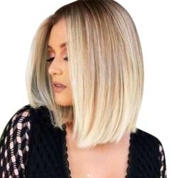 Kvinnors gradient ljusguld rakt hår Dagligt dejting smink hår Lätt guld
