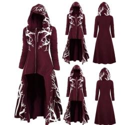 Halloween kvinnor oregelbunden kappa blommor jackor med huva Wine Red 3XL