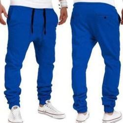 Elastiska byxor för män Sportbyxor Casual Blå XL