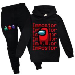 Among Us Game Impostor Set Hoodie Kids Boys Outfit Toppar Byxor Black 160
