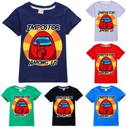 Among Us Impostor Sssshhhh Youth T-Shirt Game Crewmate Kids Tee Navy Blue 150cm
