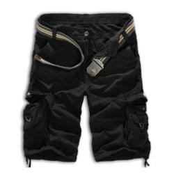 Herr Cargo Shorts Army Combat Camo Pants Sportbyxor Nederdel Black 32