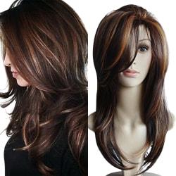Brun blandad färg mellanlång peruk naturligt långt hår Brun melange
