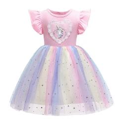 Unicorn Princess Tulle Ruffle Klänning för flickor Pink 4-5 Years