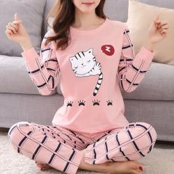 Kvinnors PJ Set Långärmade toppar Byxor Nattkläder Loungewear Cat XL