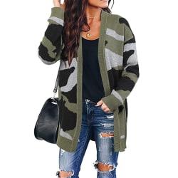 Kvinnor kamouflage Mid-längd stickad kofta tröja kvinnor Army Green L