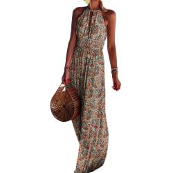 Kvinnors blommiga rygglösa halter maxiklänning fest långa klänningar Khaki L