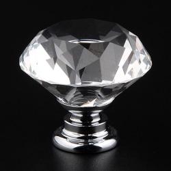 6 - dörrknopp för kristallhandtag i hemklart diamant Crystal clear 6PCS