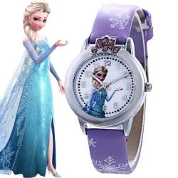 Frozen Princess Cartoon Watch Kids Girls Cute Quartz Watch Purple