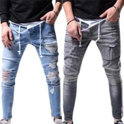Klassiska män rippade denimbyxor Distressed Casual Jeans Grey M