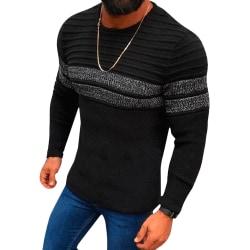 Colorblock stickad tröja herr lång tröja avslappnad match Black 2XL