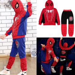 Cute Kids Spiderman Hoodies Långbyxa träningsoverall blue 5-6Years