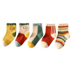 Söt Rainbow Smiley Animate Baby Sock Kids Strumpa för 0Y-5Y Random M