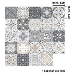 24 st marockansk stil kakel väggdekaler 15*15cm