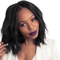 Kvinnas trendiga svarta perukuppsättning med kort lockigt hår