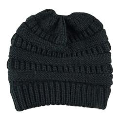 Dam Winter Warmer Stickad Mössa Crochet Messy Hat Black