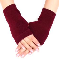 Kvinnor Fingerless Arm Varma vinterhandskar Långa varmare vantar Wine Red