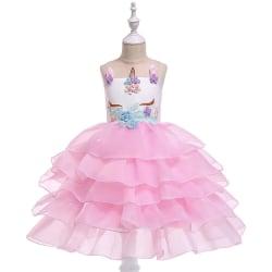 Girls Tiered Unicorn Plisserad Tutu-klänning pink 110 cm