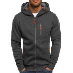 Man Hoody Fleece Warm Hoodies Jacka Coat Sweatshirt Jumper Dark Grey 3XL