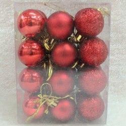 Christmas Ball Ornaments för Xmas Tree Decorations Hanging Ball Red 24pcs