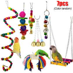 7-pack näbb Metal Rope Parrot Toy Cage Bird Toy Set