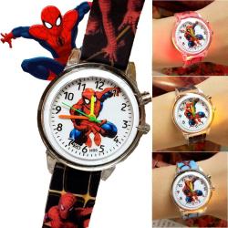 Barnklocka Blinkande ljus Spiderman-klocka Silikonbälteklocka Black