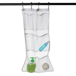 Vit hängande väska med sex fickor i badrum