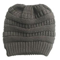 Dam Winter Warmer Stickad Mössa Crochet Messy Hat Dark Grey