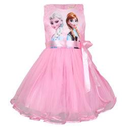 Frozen Princess Tutu Klänning Mesh Dress Anna Elsa Tryckt Pink 110 cm