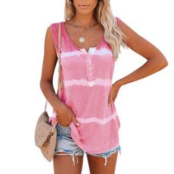 Dam Tie-Dye Ärmlös T-shirt Väst Baggy Casual Tank Tops Pink L