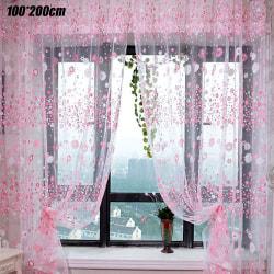 Grommet Voile Floral Curtain Door Curtain Pink 100cm*270cm