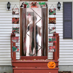 Halloween-tryckt Keep Out Doorway Curtain Door Cover Cover A Blood Cloth