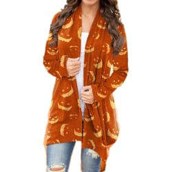 Halloween dam pumpa tryck långärmad koftor casual Orange L