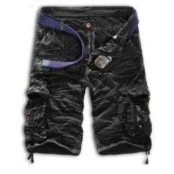 Herr Cargo Shorts Army Combat Camo Pants Sportbyxor Nederdel Black & White 32