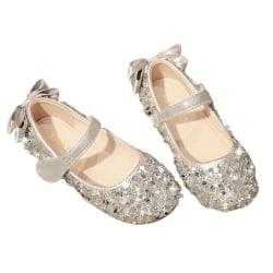 Barnflickor Söt Crystal Bowknot Bling Princess mjuka skor Silver 24