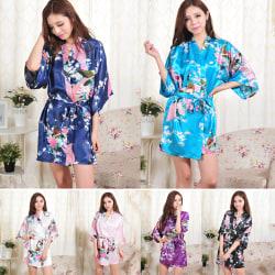 Kvinnor blommönster bälte satin sömn klänning